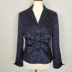 Kay Unger Purple Black Polka Dot Shirt Jacket 10